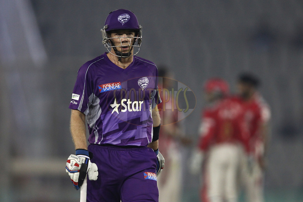 Hobart Hurricanes captain Tim Paine walks back to the dug out after losing his wicket during match 2 of the Oppo Champions League Twenty20 between the Kings XI Punjab and the Hobart Hurricanes held at the Punjab Cricket Association Stadium, Mohali, India on the 18th September 2014<br /> <br /> Photo by:  Shaun Roy / Sportzpics/ CLT20<br /> <br /> <br /> Image use is subject to the terms and conditions as laid out by the BCCI/ CLT20.  The terms and conditions can be downloaded here:<br /> <br /> http://sportzpics.photoshelter.com/gallery/CLT20-Image-Terms-and-Conditions-2014/G0000IfNJn535VPU/C0000QhhKadWcjYs