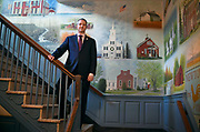 Newly elected First Selectman Dan Rosenthal stands in front a mural displaying the town of Newton in the Edmond Town Hall, Wednesday, Nov. 29, 2017 in Newtown, Conn.  Both Rosenthal's father Herb Rosenthal and grandfather Jack Rosenthal served as First Selectman of Newtown. (Jessica Hill for the New York Times)