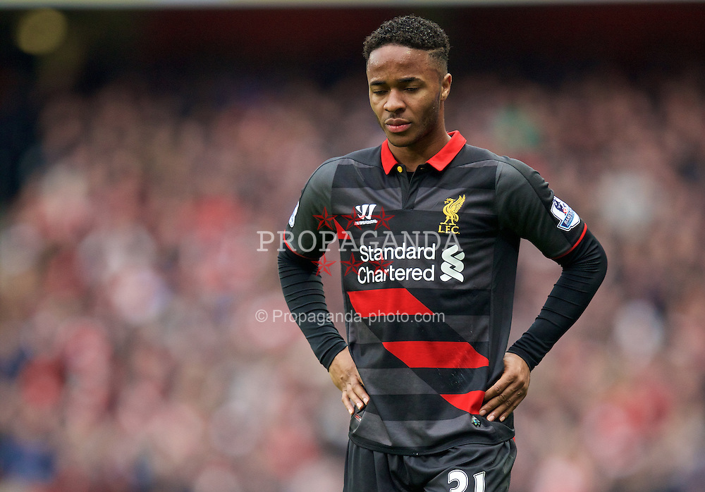 LONDON, ENGLAND - Saturday, April 4, 2015: Liverpool's Raheem Sterling looks dejected as his side lose 4-1 to Arsenal during the Premier League match at the Emirates Stadium. (Pic by David Rawcliffe/Propaganda)