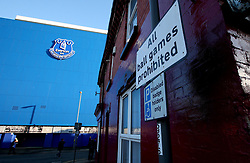 A sign post outside Goodison Park, prohibiting people from playing ball games - Mandatory by-line: Robbie Stephenson/JMP - 05/11/2017 - FOOTBALL - Goodison Park - Liverpool, England - Everton v Watford - Premier League