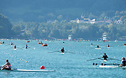 Aiguebelette, FRANCE, General View down the course. as crews train.<br /> 2015 FISA World Rowing Championships, <br /> <br /> Venue, Lake Aiguebelette - Savoie. <br /> <br /> Thursday  27/08/2015  [Mandatory Credit. Peter SPURRIER/Intersport Images]