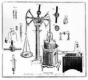 Lavoisier's apparatus for weighing gases. From his 'Traite Elementaire de Chimie', Paris, 1789.  Antoine Laurent Lavoisier (1743-1794) French chemist, one of the discoverers of oxygen.