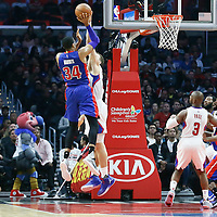 07 November 2016: Detroit Pistons forward Tobias Harris (34) takes a jump shot over Los Angeles Clippers forward Blake Griffin (32) during the LA Clippers 114-82 victory over the Detroit Pistons, at the Staples Center, Los Angeles, California, USA.