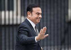 © Licensed to London News Pictures. 14/10/2016. London, UK. Nissan Chairman and CEO Carlos Ghosn arrives in Downing in a Nissan Qashqai car for talks with Prime Minister Theresa May. Mr Ghosn has stated that he would like a government pledge to  compensate Nissan for any tariffs that may be imposed after the UK leaves the EU. Photo credit: Peter Macdiarmid/LNP