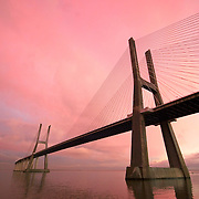 Viwe of Vasdo da gama bridge on sunset