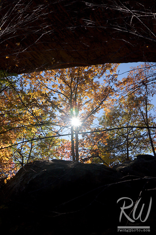 Sun Shining Through Trees and Natural Bridge, Natural Bridge State Resort Park, Kentucky