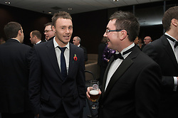 CARDIFF, WALES - Wednesday, November 11, 2009: Wales' Darcy Blake and reporter Chris Watham during the Football Association of Wales Player of the Year Awards hosted by Brains SA at the Cardiff City Stadium. (Pic by David Rawcliffe/Propaganda)