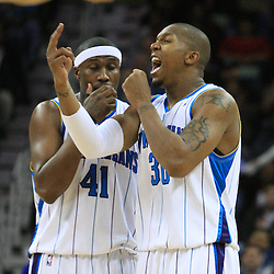 06 February 2009:  New Orleans Hornets forward David West (30) and James Posey (41) react to a foul called during a 101-92 win by the New Orleans Hornets over the Toronto Raptors at the New Orleans Arena in New Orleans, LA.