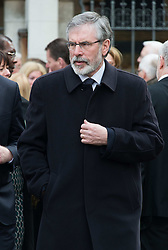 Gerry Adams attends Tony Benn's funeral at St Margaret's Church, Central London, London, United Kingdom. Thursday, 27th March 2014. Picture by Nils Jorgensen / i-Images<br /> File photo - Gerry Adams arrested for questioning over 1972 IRA slaying. Photo Filed Thursday 1st May 2014.