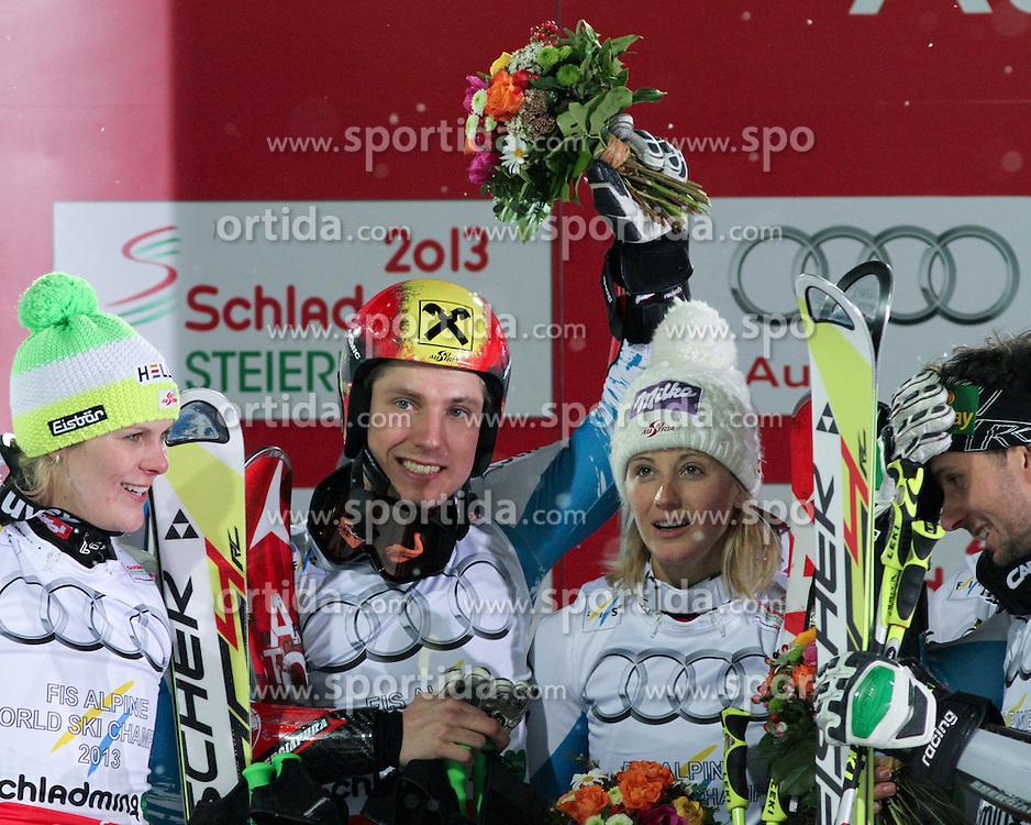 12.02.2013, Planai, Schladming, AUT, FIS Weltmeisterschaften Ski Alpin, Nation Team Event, Siegerpraesentation, im Bild Nicole Hosp, Marcel Hirscher, Michaela Kirchgasser, Philipp Schoerghofer (AUT, 1. Platz) //  1st place Nicole Hosp, Marcel Hirscher, Michaela Kirchgasser and Philipp Schoerghofer of Austria on Winners Presentation at Nation Team Event at the FIS Ski World Championships 2013 at the Planai Course, Schladming, Austria on 2013/02/12. EXPA Pictures © 2013, PhotoCredit: EXPA/ Martin Huber