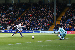 Nicky Maynard of Bury runs through on goal but hits his shot straight at the keeper - Mandatory by-line: JMP - 04/05/2019 - FOOTBALL - Gigg Lane - Bury, England - Bury v Port Vale - Sky Bet League Two