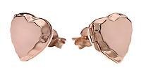 Rose gold heart locket earrings on white background