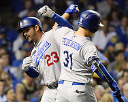 CHICAGO, IL - OCTOBER 16: Adrian Gonzalez #23 of the Los Angeles Dodgers celebrates with Joc Pederson #31 after hitting a solo home run in the second inning during Game 2 of NLCS against the Chicago Cubs at Wrigley Field on Sunday, October 16, 2016 in Chicago, Illinois. (Photo by Ron Vesely/MLB Photos via Getty Images)  *** Local Caption *** Adrian Gonzalez; Joc Pederson