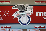 ANAHEIM, CA - JULY 21:  The American League logo is painted on the dugout wall at the Los Angeles Angels of Anaheim game against the Texas Rangers on Saturday, July 21, 2012 at Angel Stadium in Anaheim, California. The Rangers won the game 9-2. (Photo by Paul Spinelli/MLB Photos via Getty Images)