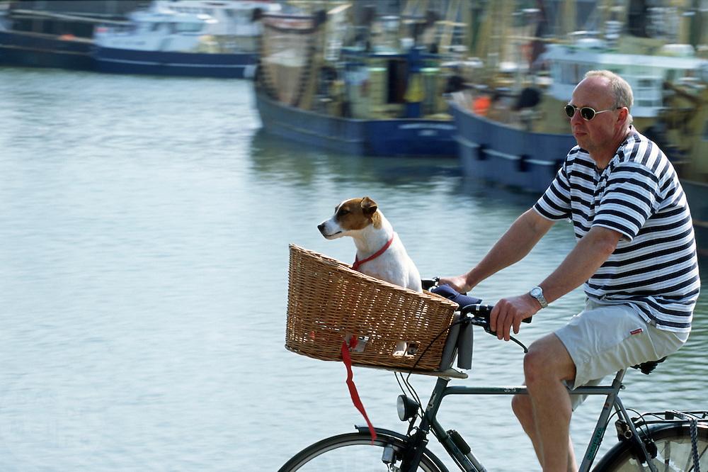 Een man fietst met een hond in een mandje bij de haven van Lauwersoog.<br /> <br /> A man is cycling with a dog in a basket nearby the harbour of Lauwersoog.