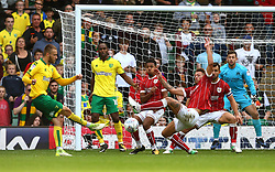 Nathan Baker, Korey Smith and Bailey Wright of Bristol City throw themselves in front of a shot by Wesley Hoolahan of Norwich City - Mandatory by-line: Robbie Stephenson/JMP - 23/09/2017 - FOOTBALL - Carrow Road - Norwich, England - Norwich City v Bristol City - Sky Bet Championship