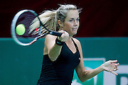 Klara Koukalova ( old name: Zakopalova ) from Czech Republic competes in WTA women's tennis tournament BNP Paribas Katowice Open 2014 at Spodek Hall in Katowice, Poland.<br /> <br /> Poland, Katowice, April 09, 2014<br /> <br /> Picture also available in RAW (NEF) or TIFF format on special request.<br /> <br /> For editorial use only. Any commercial or promotional use requires permission.<br /> <br /> Mandatory credit:<br /> Photo by &copy; Adam Nurkiewicz / Mediasport