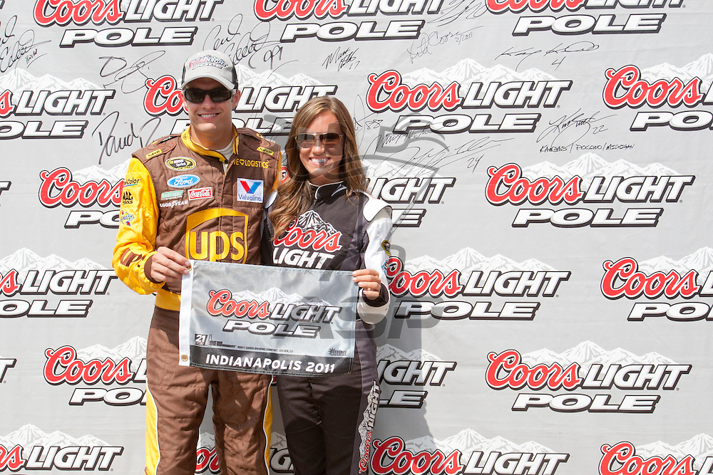 Speedway, IN  - JUL 30, 2011: David Ragan wins the Coors Light Pole award for the Brickyard 400 presented by BigMachineRecords.com at Indianapolis Motor Speedway in Speedway, IN.
