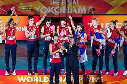 20-10-2018 JPN: Ceremony World Championship Volleyball Women day 21, Yokohama<br /> World Champion Serbia with Maja OgnjenovicC #10 of Serbia, FiVB President Ary da Silva Graça Filho
