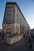 "SOHO in Ottakring. Nightshopping at Brunnenmarkt ""mit Delikatessen und Delikattrinken."" Fruit and vegetables..Now in its 9th year, SOHO in Ottakring is an established art festival in public spaces of Vienna's 16th city district. In cooperation with the local community, up to 200 artists take part in the annual festival at the end of May/beginning of June. The festival is a huge success and has helped develop the formerly neglected and decaying district into a sprawling, 'hip' urban area. More info in German at: www.sohoinottakring.at"