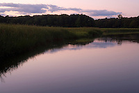 The Lieutenant River in Old Lyme, CT, USA at dusk. The river is a tidal estuary. The Lieutenant River area is credited with being the home of the American Impressionist art movement.