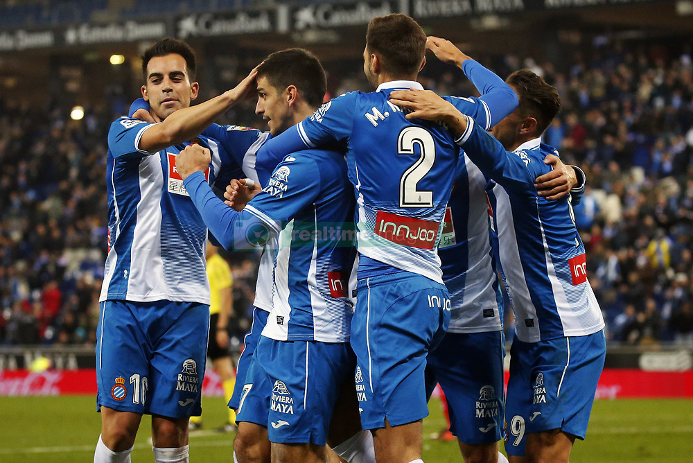 November 27, 2017 - Barcelona, Spain - Gerard Moreno goal celebration during La Liga match between RCD Espanyol v Real Betis Balompie,in Barcelona, on November 27, 2017. Photo: Joan Valls/Urbanandsport/Nurphoto  (Credit Image: © Joan Valls/NurPhoto via ZUMA Press)