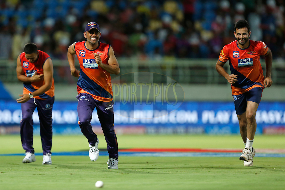 Rising Pune Supergiants captain MS Dhoni with team mates during practice session before match 49 of the Vivo IPL 2016 (Indian Premier League) between Rising Pune Supergiants and the Delhi Daredevils held at the ACA-VDCA Stadium, Visakhapatnam on the 17th May 2016<br /> <br /> Photo by Deepak Malik / IPL/ SPORTZPICS