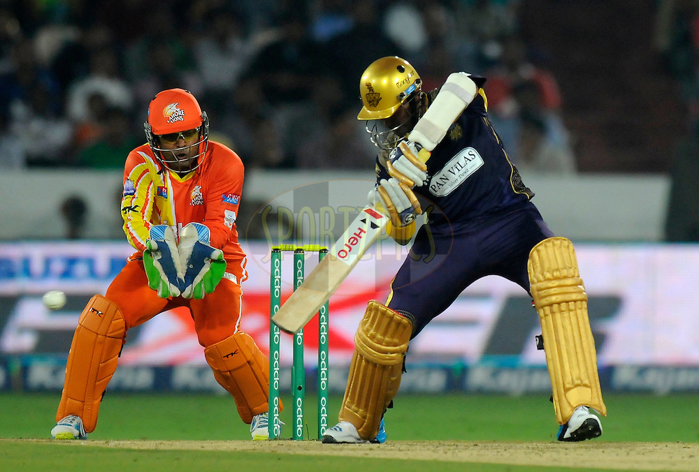 Robin Uthappa of Kolkata Knight Riders bats during match 7 of the Oppo Champions League Twenty20 between the Kolkata Knight Riders and the Lahore Lions held at the Rajiv Gandhi Cricket Stadium, Hyderabad, India on the 21st September 2014<br /> <br /> Photo by:  Pal Pillai / Sportzpics/ CLT20<br /> <br /> <br /> Image use is subject to the terms and conditions as laid out by the BCCI/ CLT20.  The terms and conditions can be downloaded here:<br /> <br /> http://sportzpics.photoshelter.com/gallery/CLT20-Image-Terms-and-Conditions-2014/G0000IfNJn535VPU/C0000QhhKadWcjYs