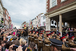 Windsor, UK. 18 May, 2019. The Household Cavalry exercise their right to a Freedom of Entry March through Windsor comprising up to 250 marching troops, 8 mounted troops, the Band of the Household Cavalry and veterans by way of a farewell to the town where they have been based for over 200 years in advance of their relocation to Salisbury Plain later this year. Credit: Mark Kerrison/Alamy Live News