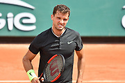 Grigor Dimitrov (BUL) during the mens singles second round of the Roland Garros Tennis Open 2017 at Roland Garros Stadium, Paris, France on 31 May 2017. Photo by Jon Bromley.