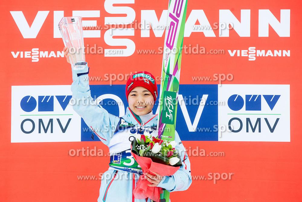 Winner Sara Takanashi (JPN) celebrates during Flower ceremony after the Final Round at Day 1 of World Cup Ski Jumping Ladies Ljubno 2015, on February 14, 2015 in Ljubno, Slovenia. Photo by Vid Ponikvar / Sportida