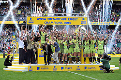 Tom Wood and Dylan Hartley lift the trophy as Northampton Saints are crowned Aviva Premiership Champions - Photo mandatory by-line: Patrick Khachfe/JMP - Tel: Mobile: 07966 386802 31/05/2014 - SPORT - RUGBY UNION - Twickenham Stadium, London - Saracens v Northampton Saints - Aviva Premiership Final.