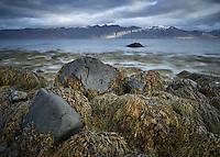 Seascape in Arnarfjörður, mount Bauluhúsashyrna in background. West fiords of Iceland.