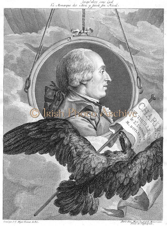 Jacques Alexander Cesar Charles (1746-83) French physicist. Print celebrating the first ascent in a hydrogen balloon, made by Charles from the Tuileries, Paris, on 1 December 1783.  He discovered connection between expansion of gases and rise in temperature (Charles's Law). Engraving by Simon Charles Miger (1747-1805).