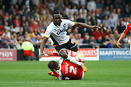 Port Vale&rsquo;s Jordan Slew is tackled by Crewe Alexandre&rsquo;s Matt Tootle. Skybet football league one match, Crewe Alexandra v Port Vale at the Alexandra Stadium in Crewe on Saturday 13th Sept 2014.<br /> pic by Chris Stading, Andrew Orchard sports photography.