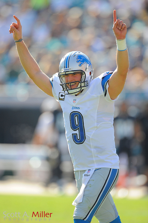 Detroit Lions quarterback Matthew Stafford (9) celebrates a touchdown during the Lions 31-14 win over the Jacksonville Jaguars at EverBank Field on November 4, 2012 in Jacksonville, Florida. ..©2012 Scott A. Miller..