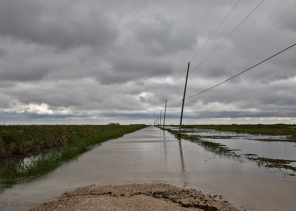 Lake Road in Lacombe, Louisiana covered in water following tropical depression Olga after it passed through the area.