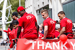 Jay Emmanuel-Rhomas, Joe Bryan and James Tavernier during the Bristol City open top bus parade to celebrate winning both the League 1 and Johnstone's Paint Trophy titles this season and promotion to the Championship - Photo mandatory by-line: Rogan Thomson/JMP - 07966 386802 - 04/05/2015 - SPORT - FOOTBALL - Bristol, England - Bristol City Bus Parade.