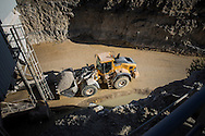 Volvo Construction Equipment wheel loader in action at Sylvestre Group's concrete granulates plant and quarry in Maubec, France. Photo: Erik Luntang