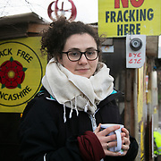 """Sarah O'Brien.<br /> """" I have been here since beginning of December and today is supposed to be a day with a big statement but I am not too sure now even though there is a lot of hope in the air.""""  <br /> It is Green Monday and first week of the second anniversary of Cuadrilla's fracking exploration in Preston New Road. For two years activists have been keeping an eye on the fracking company Cuadrilla from the roadside of the fracking site in Preston New Road. The company has not actively fracked since November and is currently seemingly busy emptiyng the site for heavy equipment. Prostesters and climate protectors are still by the gates trying to work out Cuadrilla's intensions."""