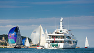 The Lady Christine luxury yacht owned by Lord Laidlaw of Rothiemay pictured in Cowes during the Panerai British Classic Sailing Week regatta. <br /> Picture date: Monday July 10, 2017.<br /> Photograph by Christopher Ison &copy;<br /> 07544044177<br /> chris@christopherison.com<br /> www.christopherison.com