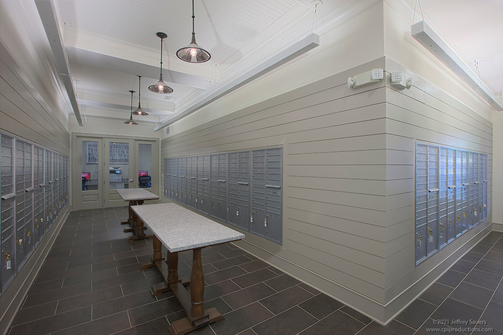 Architectural interior photo of Post Parkside at Wade apartments in Raleigh North Carolina by Jeffrey Sauers of Commercial Photographics