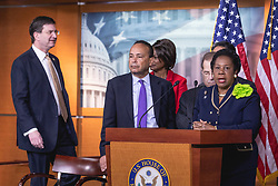 "April 12, 2018 - Washington, DC, United States - Judiciary Crime Subcommittee Ranking Member Sheila Jackson Lee of Texas speaks, standing with Democratic members of the Judiciary Committee, during a press conference on Capitol Hill to introduce Bill H.R. 5476, the ""Special Counsel Independence and Integrity Protection Act"". On Thursday, April 12, 2018 in Washington DC, United States. (Credit Image: © Cheriss May/NurPhoto via ZUMA Press)"
