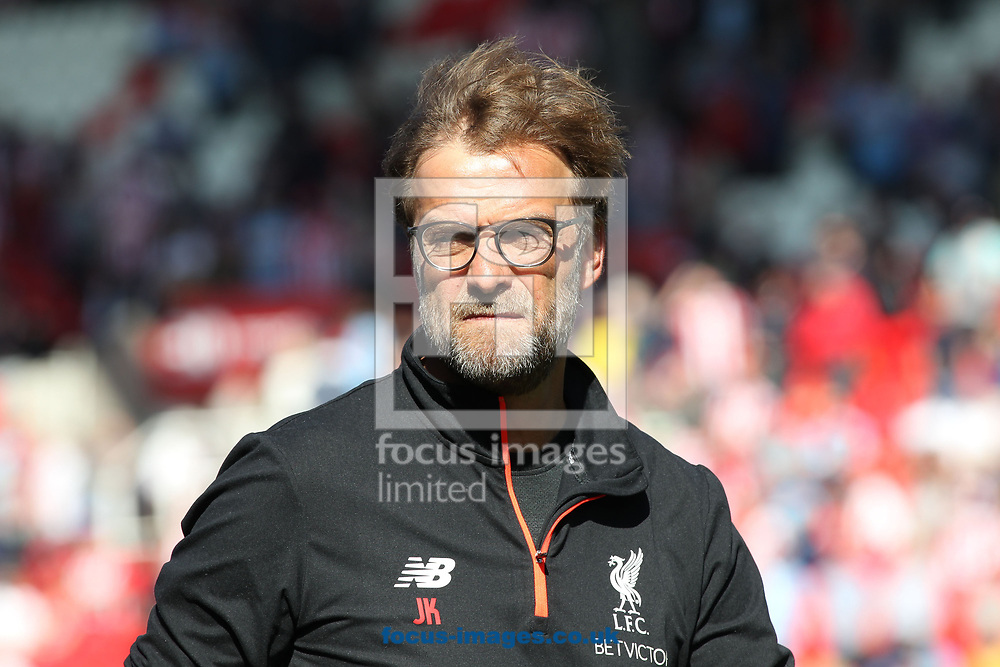 J&uuml;rgen Klopp, manager of Liverpool on the touchline prior to the Premier League match against Stoke City at the Bet 365 Stadium, Stoke-on-Trent.<br /> Picture by Michael Sedgwick/Focus Images Ltd +44 7900 363072<br /> 08/04/2017