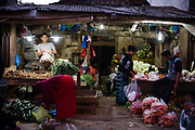 Vegetable shop in the streets of Surabaya early evening