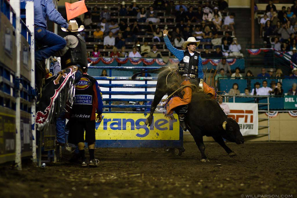 Nick Landreneau of Sulphur, LA rides Rattlesnake as part of the first ever PBR Team Shootout event during the PBR rodeo at the Del Mar Fairgrounds in Del Mar, California on July 27th, 2008.  It was the second night of the PBR's tour stop in Del Mar.