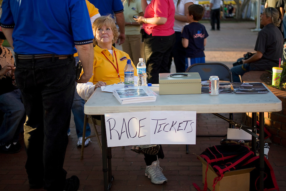 Selling tickets for the Carolina 200 during Thunderfest in downtown Rockingham, N.C.