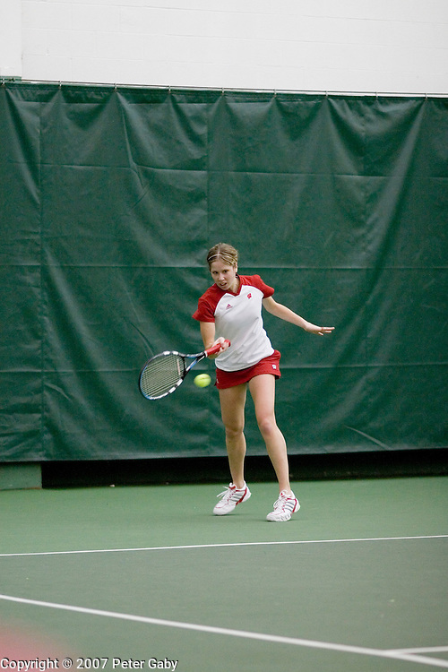Kaylan Caiati during singles play at the 2007 USTA/ITA National Women's Team Indoor Championships at the Nielsen Tennis Stadium, Feb. 1st-4th hosted by the University of Wisconsin.