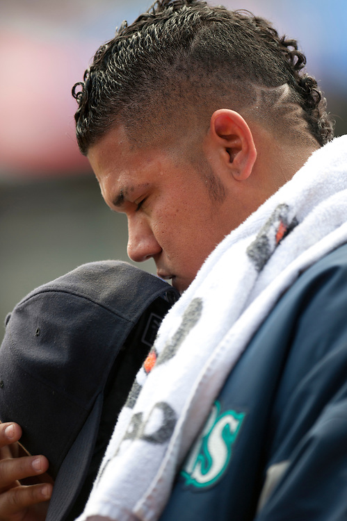 NEW YORK - JULY 27: Felix Hernandez #34 of the Seattle Mariners looks on before the game against the New York Yankees at Yankee Stadium on July 27, 2011 in the Bronx borough of Manhattan. (Photo by Rob Tringali) *** Local Caption *** Felix Hernandez