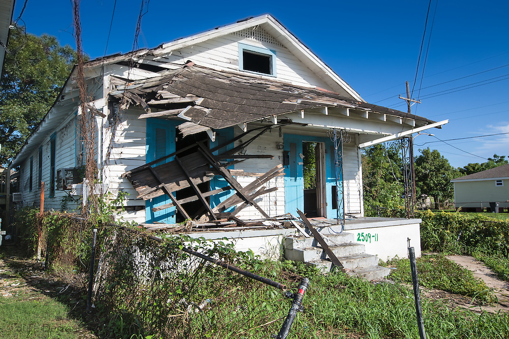 Aug. 23, 2015, Blighted home on Desire Street, in New Orleans Uppter 9th Ward, ten years after Hurricane Katrina.